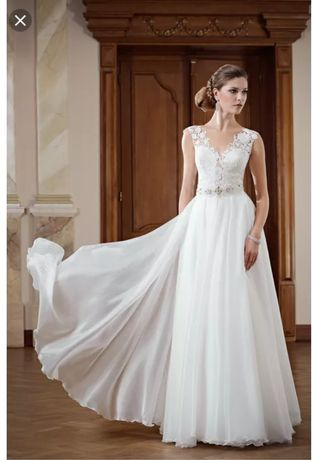 Suknia ślubna IGAR Hermiona r. 34 /36 xs/s ecru biel gipiura koronka