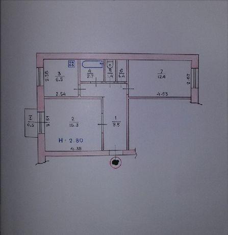 2-х комн. квартира СевГОК, 3-й этаж, не угловая, с долгом
