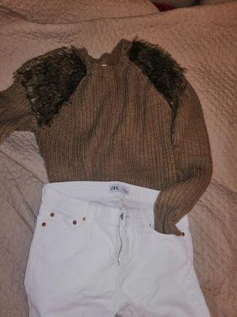 Sweter brązowy futerko ZARA s/m
