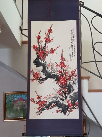 Oryginalny obraz chiński na jedwabiu