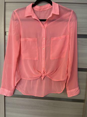 Яркая розовая Блузка шифоновая , рубашка s