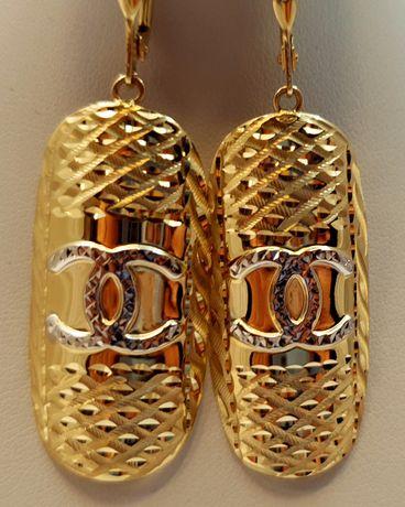 Złote długie wiszące kolczyki 6,55g p585 jak nowe /STERNA złoto