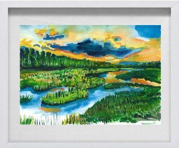 Obraz, akwarela, pejzaż w drewnianej ramie,3D, 30x40 z PASSE-PARTOU