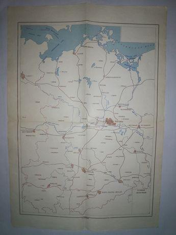 Контурная карта ГДР на русском языке