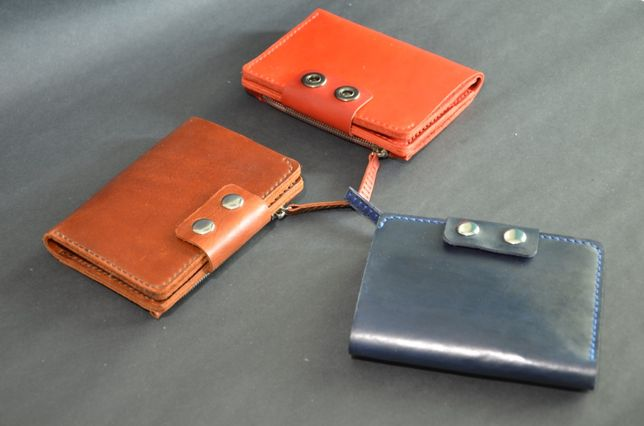 Кожаное портмоне, кошелек, ручная работа Black CAT
