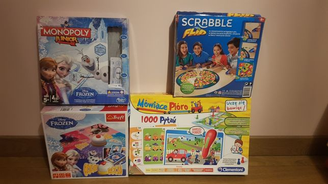 Gry planszowe Scrabble, Monopoly Junior, Mówiące pioro, bom-bom froze