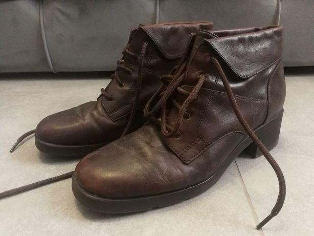 Buty skórzane r 37/37 brąz śliczne stan bdb wygodne