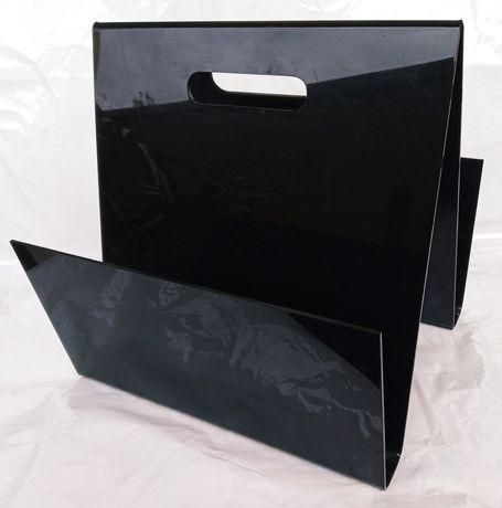Suporte / Porta-revistas ultra moderno em perspex acrílico preto