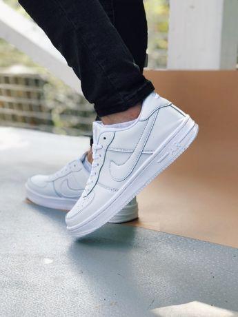 Кеды Найк белые низкие Nike Air Force white Аир Форс черные с белым
