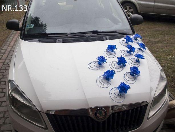 Cała chabrowa dekoracja na samochód/śliczna ozdoba/stroik na auto/ślub