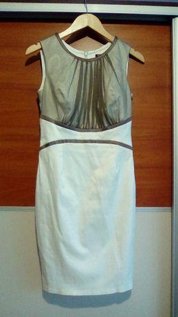 Śliczna sukienka ecri-brąz rozm. 38 wesele/impreza