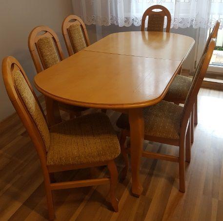 Drewniany stół i krzesła 6 sztuk olcha 160x90 + 2 wkładki