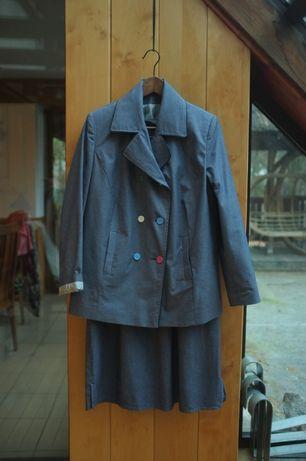 zestaw plussize sukienka + marynarka żakiet Vintage 44 XXL Jeansowa