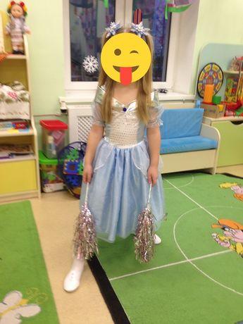 Голубое платье Золушки 5-7 лет, костюм льдинки снежинки