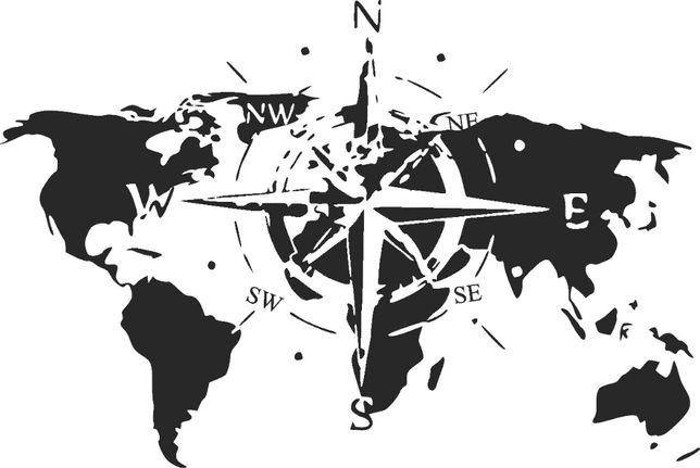róża wiatrów kompas mapa kamper 4x4 67x45 naklejka