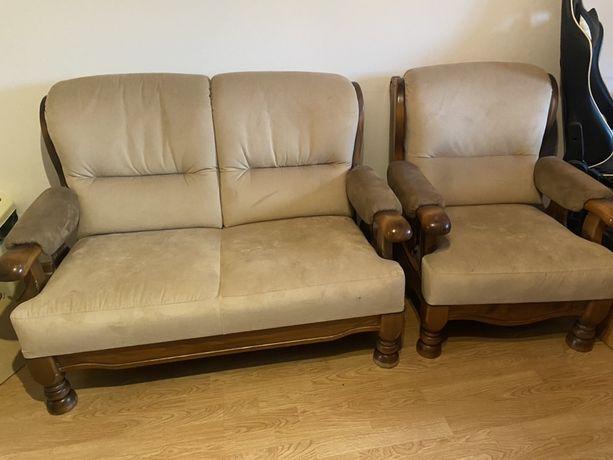 Kanapa dwuosobowa i dwa fotele, sofa