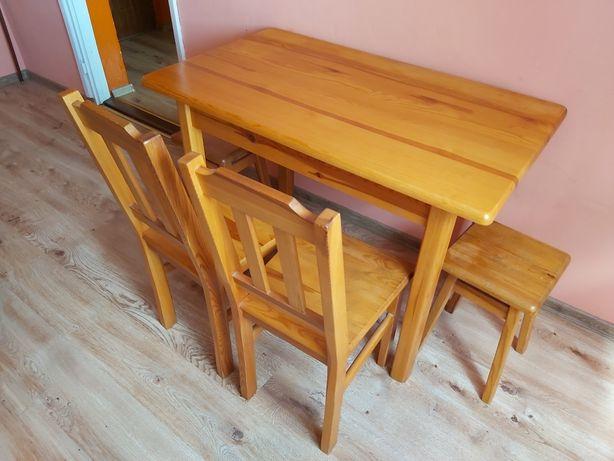Stół sosnowy + 2 krzesła 2 taborety