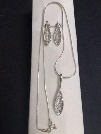 Komplet biżuterii srebrnej, kolczyki, zawieszka, łańcuszek