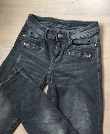 рваные серые джинсы zara на высокой посадке,джинси на високі xxs xs