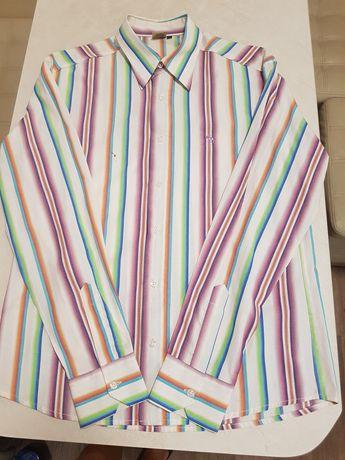 Рубашка строгая в полоску XL замеры на фото С ДИФФЕКТОМ!
