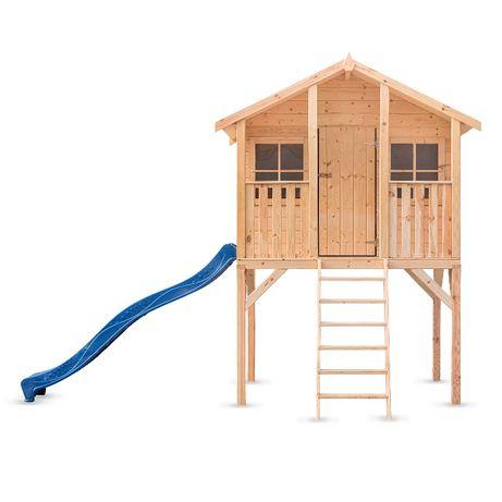 Plac zabaw domek drewniany dla dzieci Borys ze zjeżdżalnią