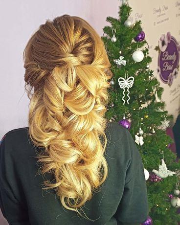 Прически вечерние,свадебные,плетение кос,локоны