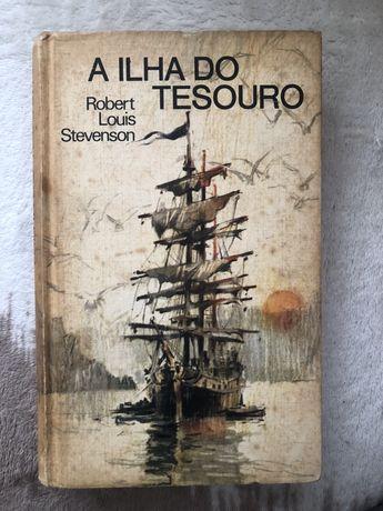 Livros A ilha do tesouro e A ilha misteriosa em segunda mão.
