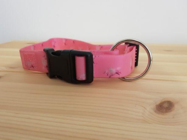 Różowa obroża i smycz dla psa komplet jednorożec