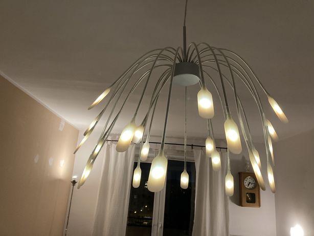 Lampa wisząca LED ozdobna z Ikea srebrna biała