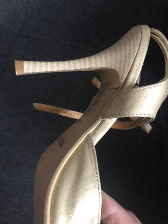 Sandały, skóra naturalna, złote, Visconi, rozm. 35