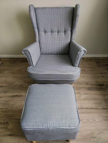 Fotel Uszak + Podnóżek. Pepitka