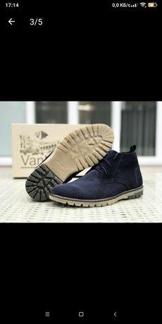 Туфли мужские в стиле Vankristi темно синие (зима)