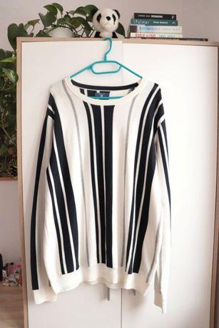 Sweter damski Gant XL - biały granatowo-szare pasy - jak nowy, okazja