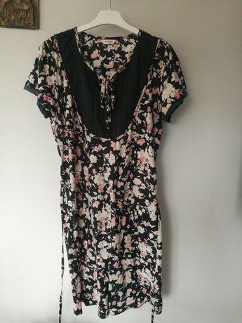 Sukienka na lato letnia w kwiaty, kwiatki, krótki rękaw rozmiar XL xxl