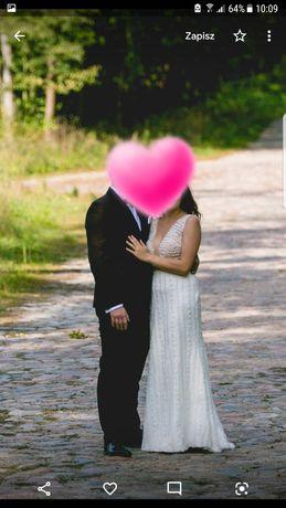 Suknia ślubna 38 klasyczna prosta A koraliki perełki dekolt V