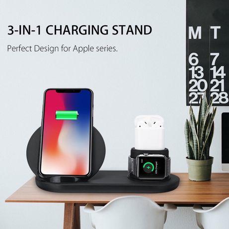 Беспроводная зарядка док станция iPhone/Apple Watch/AirPods| Samsung
