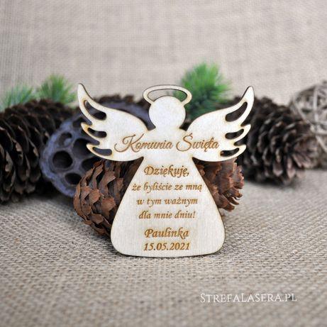 Podziękowania dla gości ślub komunia chrzest drewniane magnesy magnes