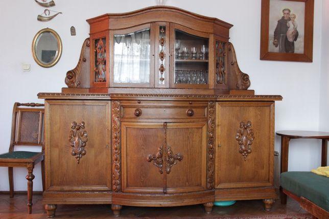 Antyki komplet mebli - Kredens, Komoda, stół, 4 krzesła, zegar