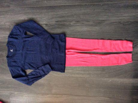 Bluzka 100% merino wool Woolmark Cubus Granatowa 122/128; 134/140