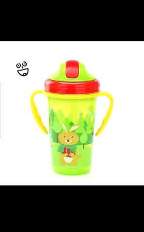Бутылка для воды с трубочкой, бутылочка, поильник