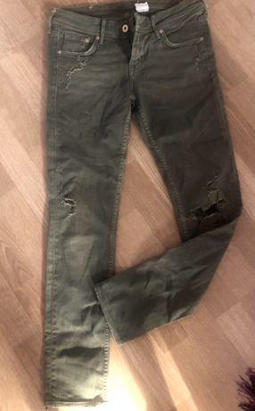 Zielone spodnie khaki H&M ,S !