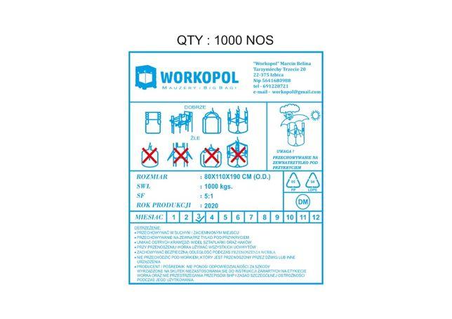 Worki Big Bag Nowe 110x80x190 wysokości, Importer na Zboże, Fasole