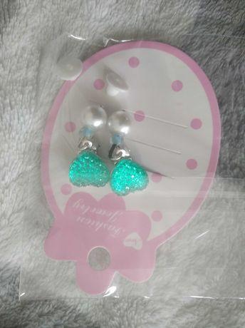 Kolczyki klipsy serduszka perełka dla dziewczynki nowe