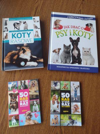 Koty i psy, rasy, opieka, porady, 4 książki