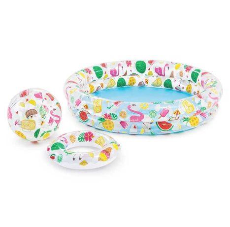 Детский бассейн надувной Intex+ круг + мяч Фламинго арбуз ананас 134 л