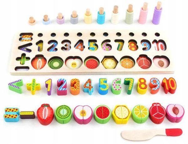Sorter układanka cyferki owoce Montessori drewniane NOWE