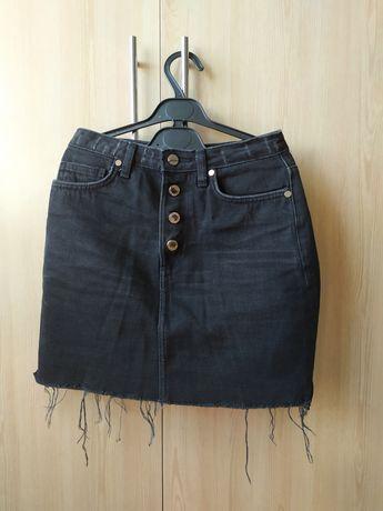 Крутая черная джинсовая юбка H&M