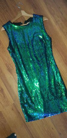 Sukienka cekiny butelkowa zieleń roz.36-38