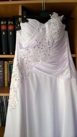 Suknia ślubna z liliowymi zdobieniami (szyta) + bolerko r. 40