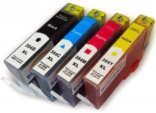 Conjunto 4 Tinteiros HP Compatíveis 364XL (C/ Chip) Preto/Azul/Magenta